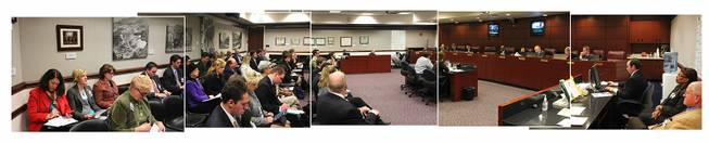 This is a panorama of the Senate Commerce, Labor and Energy Committee made up of five different photos Wednesday, Feb. 6, 2013 in Carson City.