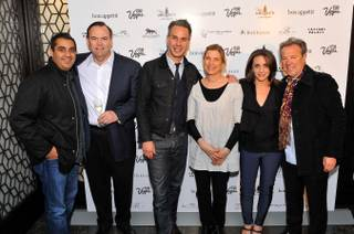 Michael Mina, Charlie Palmer, Adam Rapoport, Mary Sue Milliken, Pamela Drucker Mann and Julian Serrano at the 2013 Vegas Uncork'd preview in San Francisco.