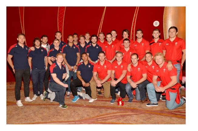 "USA Sevens Rugby teams from England and Wales at ""Zumanity"" in New York-New York on Tuesday, Feb. 5, 2013."