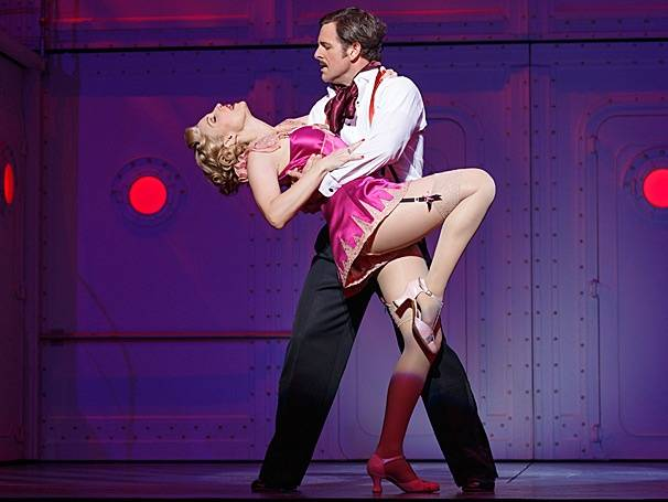 "Rachel York (Reno Sweeney) and Edward Staudenmayer (Sir Evelyn Oakleigh ) star in ""Anything Goes."""