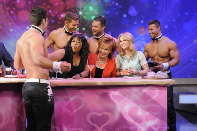 "Chippendales at The Rio stars Jon Howes, Jaymes Vaughan, James Davis and Sami Eskelin on ABC's ""The View"" airing Friday, Feb. 8, 2013."