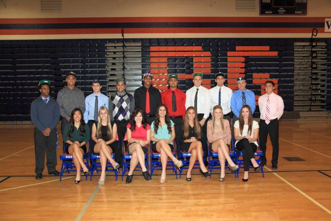 Athletes from Bishop Gorman High, including seven from the Gaels' state champion football team, are photographed after signing letters of intent on Feb. 6, 2013 in the school's gymnasium. At Gorman, the signing day ceremony celebrates athletes from all sports — not just football.