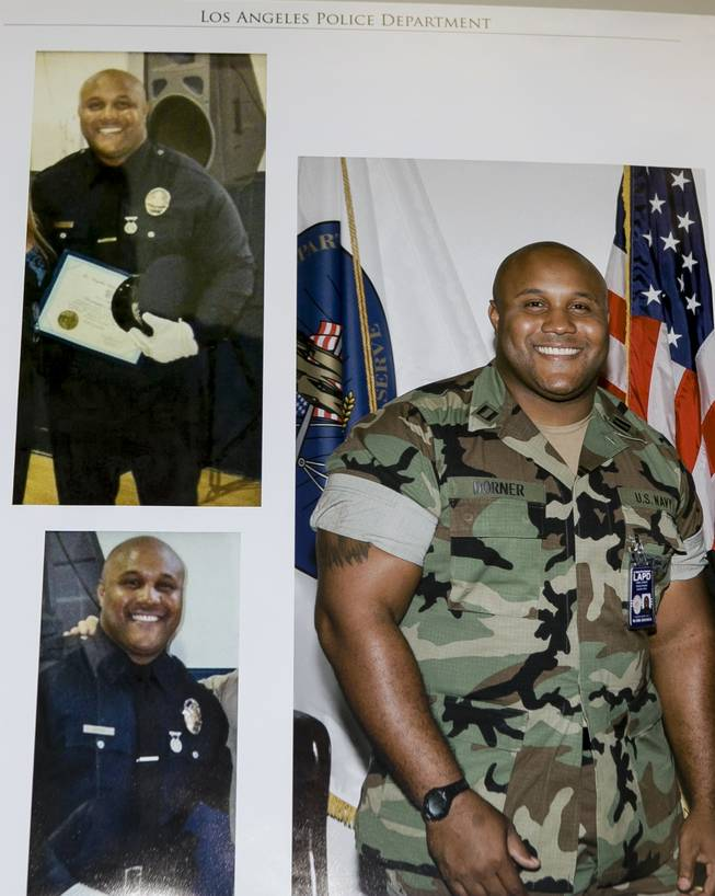 A  photo released by the Los Angeles Police Department shows three images of suspect Christopher Dorner, a former Los Angeles officer. Police have launched a massive manhunt for the former Los Angeles officer suspected of killing a couple over the weekend and opening fire on four officers early Thursday, Feb. 7, 2013,  killing one and critically wounding another, authorities said.