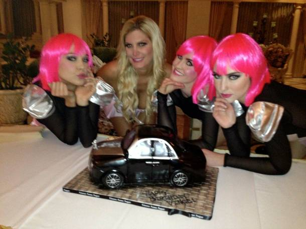 Vince Neil celebrates his 52nd birthday at LVH. Girlfriend Rain Andreani is pictured here.