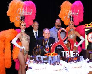 Penn & Teller's 20th-anniversary performance and celebration at The Rio on Friday, Feb. 8, 2013. The magic duo is pictured here with