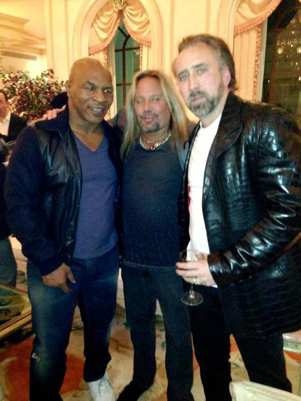 Vince Neil, center, with Mike Tyson and Nicolas Cage, celebrates his 52nd birthday at LVH.