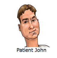 "John Alleman, who suffered a heart attack last week, was the inspiration for the ""Patient John"" caricature that adorns the Heart Attack Grill's menu and merchandise."