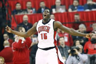 UNLV forward Anthony Bennett celebrates a dunk against New Mexico during their game Saturday, Feb. 9, 2013 at the Thomas & Mack Center.