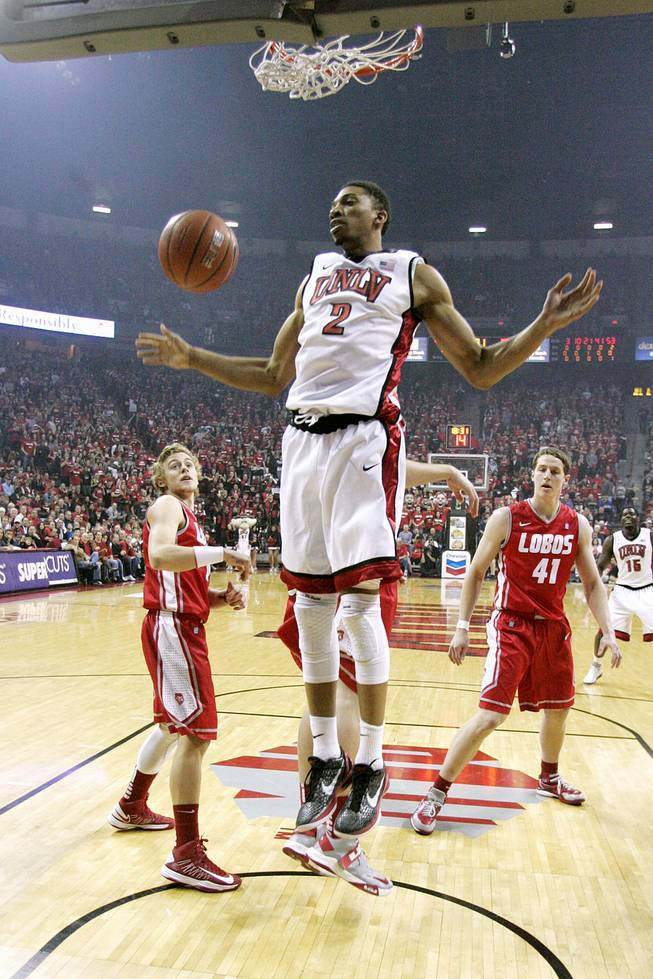 UNLV forward Khem Birch dunks on New Mexico during a game Saturday, Feb. 9, 2013, at the Thomas & Mack Center. UNLV beat New Mexico 64-55.