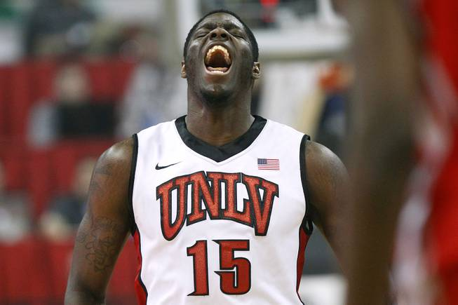 UNLV forward Anthony Bennett reacts after a dunk against New Mexico Saturday, Feb. 9, 2013, at the Thomas & Mack Center. UNLV won 64-55.