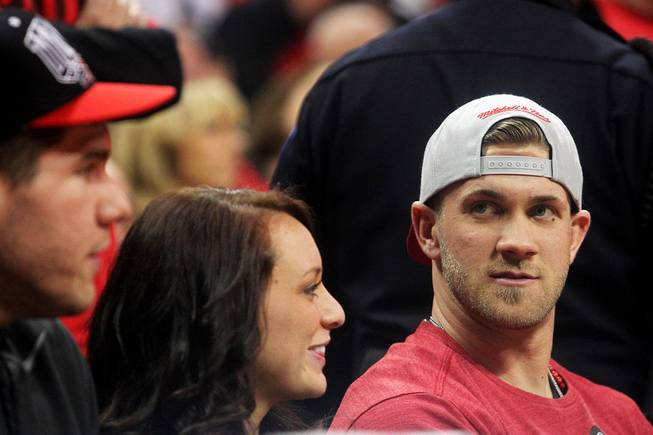 Las Vegas native and current Washington Nationals baseball player Bryce Harper and his girlfriend Kayla Varner watch UNLV take on New Mexico on Saturday, Feb. 9, 2013, at the Thomas & Mack Center. UNLV defeated New Mexico 64-55.