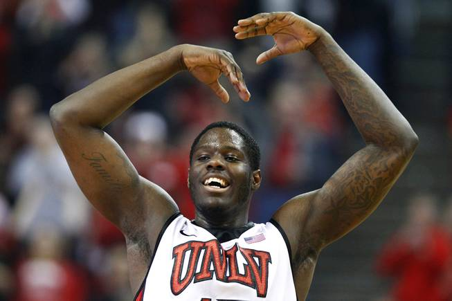 UNLV forward waves his arms during their game against  New Mexico Saturday, Feb. 9, 2013 at the Thomas & Mack Center. UNLV beat New Mexico 64-55.