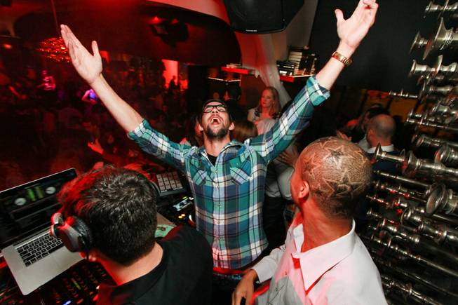 Michael Phelps parties at Hyde Bellagio on Saturday, Feb. 9, ...