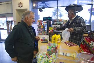 David Paulsen, a member of United Methodist Church in Boulder City, buys oil for his van before heading to Carson City Sunday, Feb. 10, 2013. Nevadans for the Common Good, a coalition of faith-based organizations, are learning about the legislative process as they lobby for Assembly Bill 67. The bill would strengthen the laws against sex traffickers.