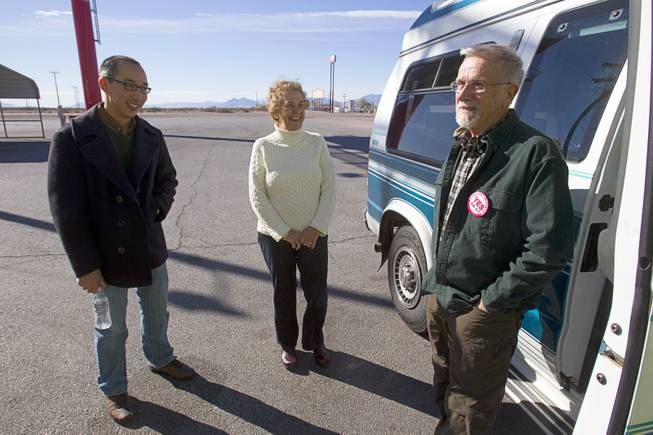 David Paulsen, right, a member of United Methodist Church in Boulder City, chats with his wife Barbara and organizer Robert Hoo during a break in Amargosa Valley as they head to Carson City Sunday, Feb. 10, 2013. Nevadans for the Common Good, a coalition of faith-based organizations, are learning about the legislative process as they lobby for Assembly Bill 67. The bill would strengthen the laws against sex traffickers.