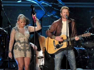 Miranda Lambert and Dierks Bentley perform at the 55th Annual Grammy Awards on Sunday, Feb. 10, 2013, in Los Angeles.