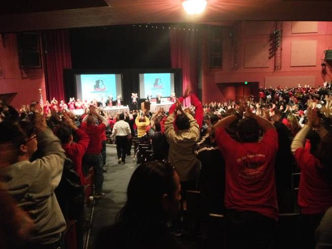 Culinary Union members pack the theater at Cashman Center for a rally on Feb. 11, 2013. Union leaders presented strategy for contract negotiations with 41 Strip and downtown resort properties.