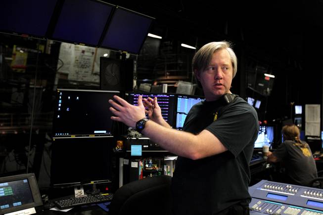 """Ka"" lead projectionist Davin Gaddy talks about projection work for ""One Night for One Drop"" inside the projection department at ""Ka"" at the MGM Grand in Las Vegas on Tuesday, February 12, 2013."