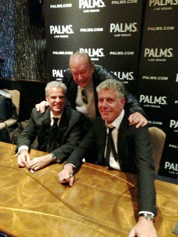 Eric Ripert, Robin Leach and Anthony Bourdain at Palms on Saturday, Feb. 9, 2013.