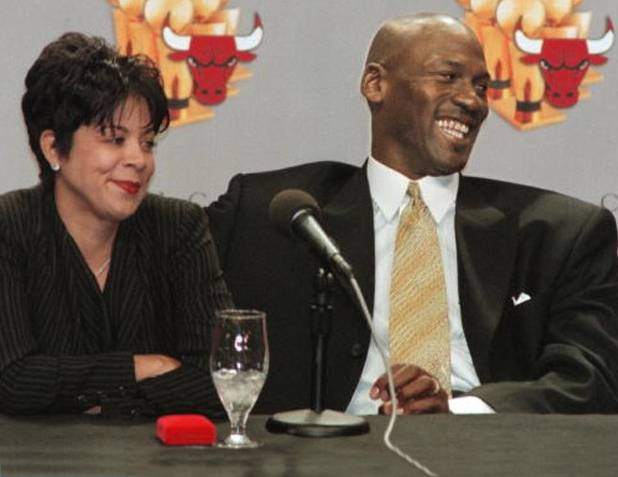 Michael and Juanita Jordan during a press conference when Jordan announced his retirement from the Chicago Bulls basketball team.