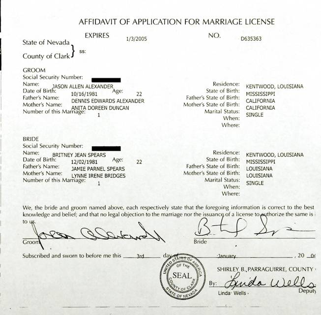 A copy of an Affidavit of Application for Marriage License that was filed at the Clark County Marriage Bureau by pop singer Britney Spears and Jason Alexander, January 3, 2004.