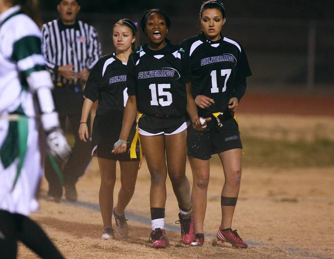 Silverado's LaShayla Peters reacts to a penalty call during their district championship game for flag football against Palo Verde Wednesday, Feb. 13, 2013. Palo Verde won the game 7-6.