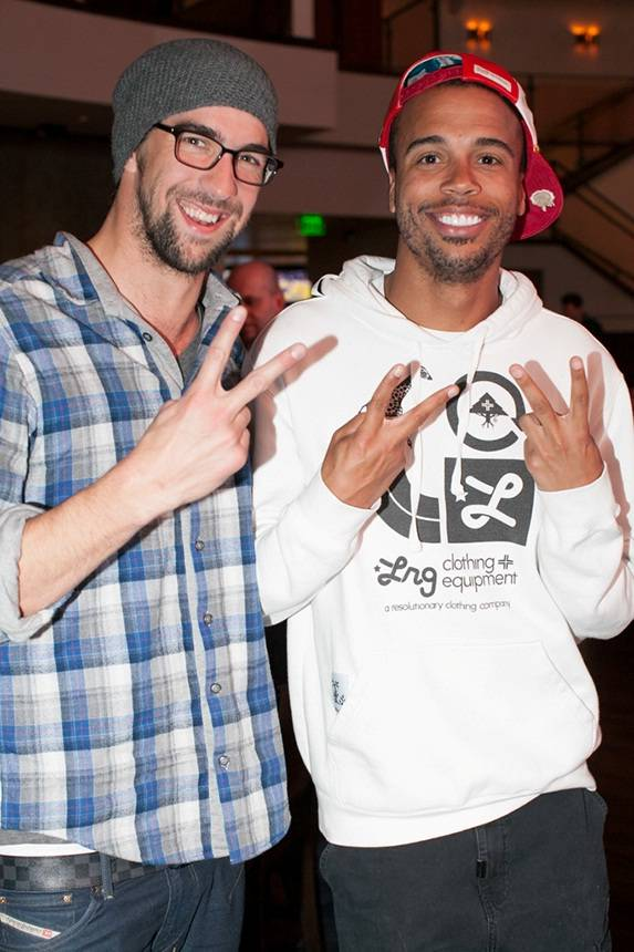 Michael Phelps and a friend at Heraea in Palms.