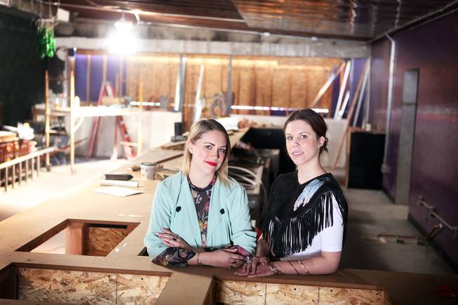 Pamela Dylag, left, 28, and her sister Christina Dylag, 25, are co-owners of the soon-to-be-opened Velveteen Rabbit, a bar in the Arts District in Las Vegas. The Dylag sisters were photographed inside the bar on Thursday, February 14, 2013.