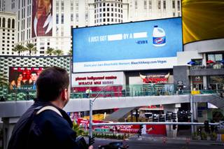 Clorox rolled out their new interactive ad campaign currently showing on LED boards and on taxi cabs on the Strip. (Courtesy of Clorox)