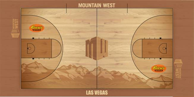 This is the court for the 2013 men's and women's Mountain West basketball tournament, which will be played at the Thomas & Mack Center on March 12-16. The league announced Friday, Feb. 15 that the tournament will stay in Las Vegas at least through 2016.