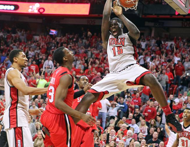 UNLV forward Anthony Bennett dunks on San Diego State during their game Saturday, Feb. 16, 2013. UNLV won the game 72-70 to sweep the regular season series.