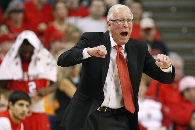 San Diego State head coach Steve Fisher yells to his players during their game against UNLV Saturday, Feb. 16, 2013. UNLV won the game 72-70 to sweep the regular season series.