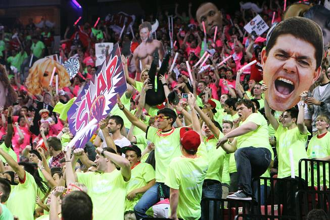 The UNLV student section does the Harlem Shake during their game against San Diego State Saturday, Feb. 16, 2013. UNLV won the game 72-70 to sweep the regular season series.