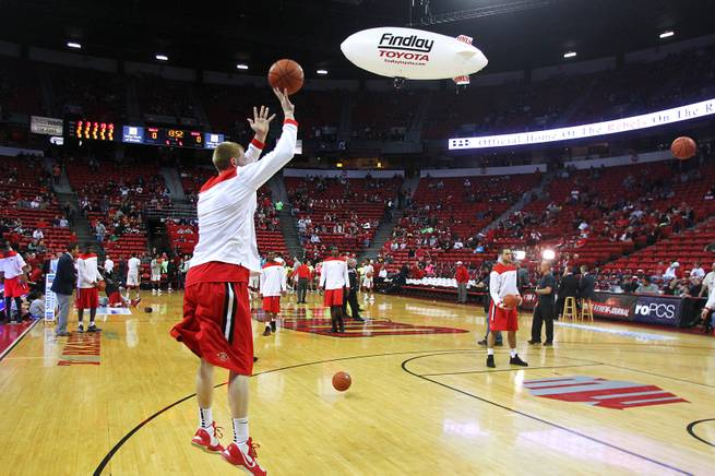 The Findlay Toyota blimp flies over the Thomas & Mack before the UNLV vs. San Diego State game Saturday, Feb. 16, 2013. The blimp is operated by Darrell Stubbs, a Vietnam War helicopter pilot and veteran of over 11,000 combat missions.
