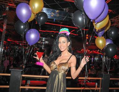 Tabitha Stevens celebrates her 43rd birthday at Crazy Horse III in Las Vegas on Saturday, Feb. 16, 2013.