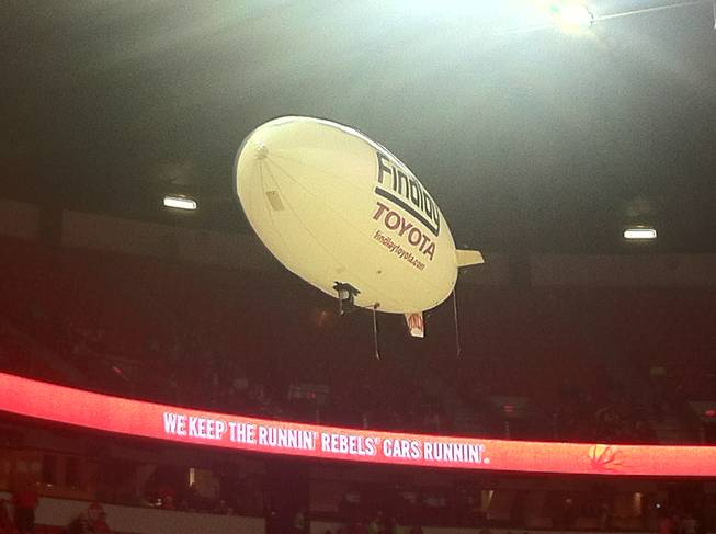 The famous Findlay blimp makes a pass at the Thomas & Mack Center.