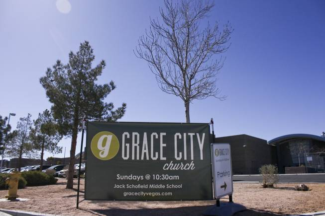 A Grace City Church banner directs people into Jack Schofield Middle School on Sunday, Feb. 17, 2013. The new Las Vegas church rents out the Jack Schofield Middle School auditorium as a temporary venue to hold they're Sunday services.