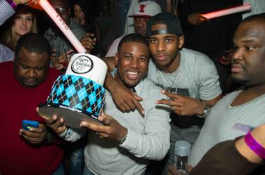 Chris Paul, in the backward cap, celebrates his brother C.J.'s 30th birthday at Lavo in Palazzo on Sunday, Feb. 17, 2013