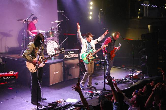 Weezer performs during an AG Jeans private event in Haze at Aria on Tuesday, Feb. 19, 2013.