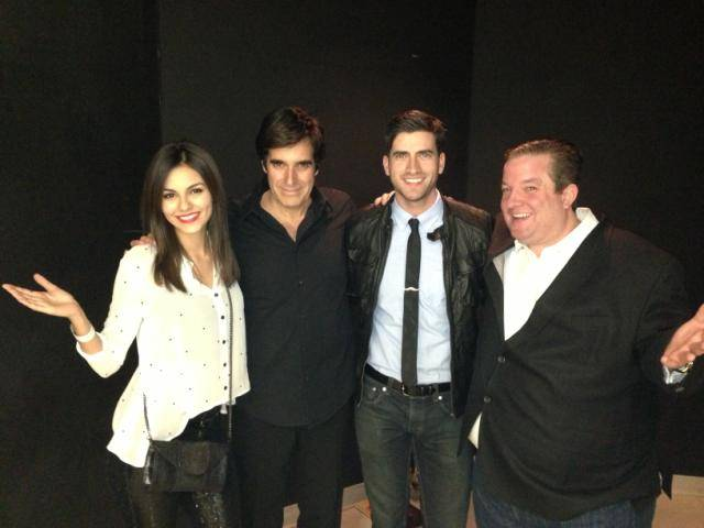 Victoria Justice, David Copperfield, Ryan Rottman and Jeff Beacher at MGM Grand.