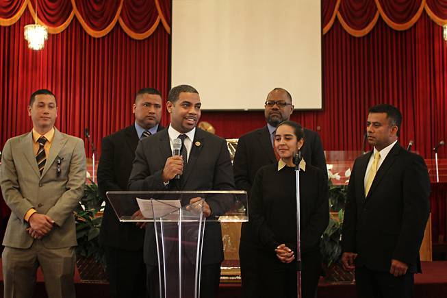 Rep. Steven Horsford (at podium), D - Las Vegas, stands with a collection of representatives from community organizations while discussing reform of the U.S. immigration system. The congressman is flanked by (left to right) Evan Louie of the Asian American and Pacific Islander Democrats, Hugo Stanley, of the Las Vegas Pacific Islander community, Richard Boulware of the Las Vegas NAACP, Marisol Montoya, Mi Familia Vota, and Sanje Sedera, Asian American Democratic Caucus in Las Vegas. The organizations came together with Horsford on Tues. Feb. 19, 2013 to advocate for immigration reform.