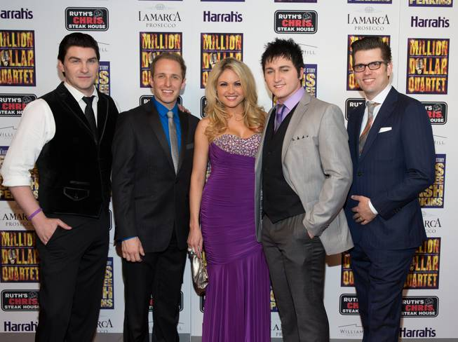 "Ben Hale, Martin Kaye, Felice Garcia, Tyler Hunter and Robert Lyons at the grand opening of ""Million Dollar Quartet"" at Harrah's on Tuesday, Feb. 19, 2013."