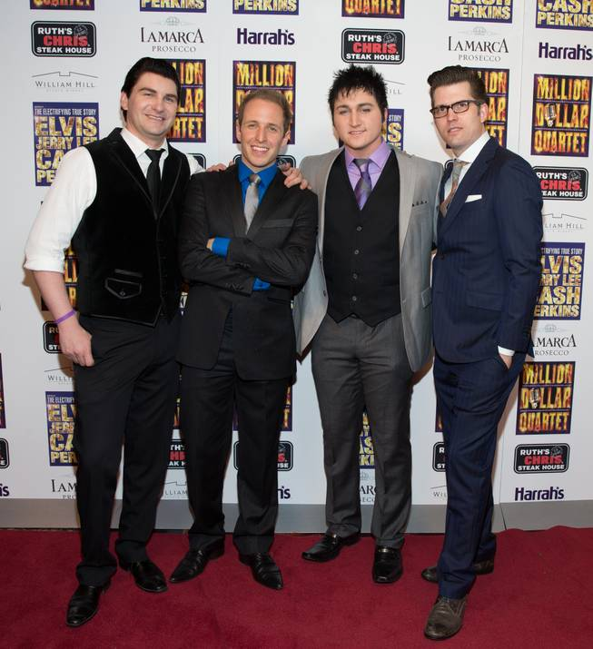 "Ben Hale, Martin Kaye, Tyler Hunter and Robert Lyons at the grand opening of ""Million Dollar Quartet"" at Harrah's on Tuesday, Feb. 19, 2013."
