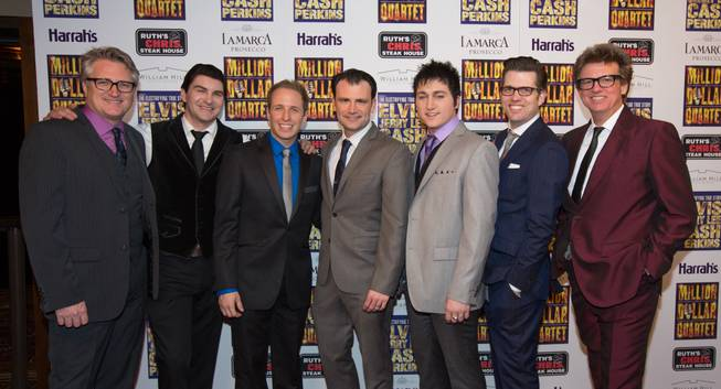 "Eric Schaeffer, Ben Hale, Martin Kaye, Marc Donovan, Tyler Hunter, Robert Lyons and Chuck Mead at the grand opening of ""Million Dollar Quartet"" at Harrah's on Tuesday, Feb. 19, 2013."