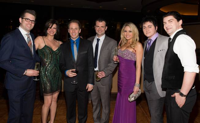 "Robert Lyons, Carla Pellegrino, Martin Kaye, Marc Donovan, Felice Garcia, Tyler Hunter and Ben Hale at the grand opening of ""Million Dollar Quartet"" at Harrah's on Tuesday, Feb. 19, 2013."
