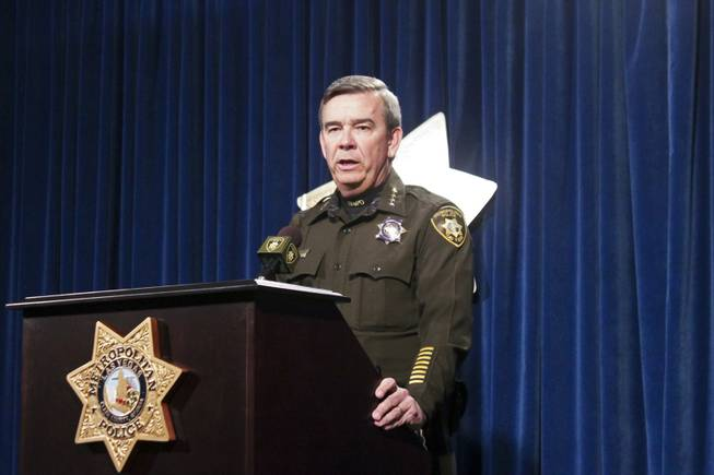 Sheriff Doug Gillespie addresses the media about the early morning shooting on the Las Vegas Strip, Thursday, Feb. 21, 2013.