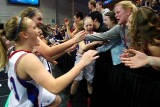 Reno players and fans celebrate after their Division I state championship win over Bishop Gorman Friday, Feb. 22, 2013 at the Orleans. Reno won 52-39.