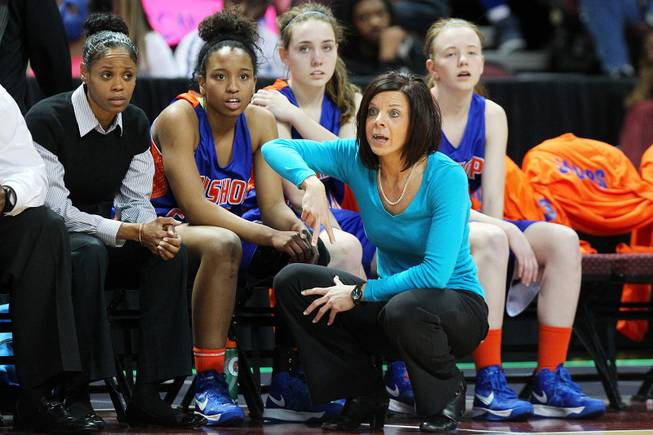 Bishop Gorman head coach Sheryl Krmpotich calls a play during their Division I state championship game against Reno Friday, Feb. 22, 2013 at the Orleans. Reno won 52-39.