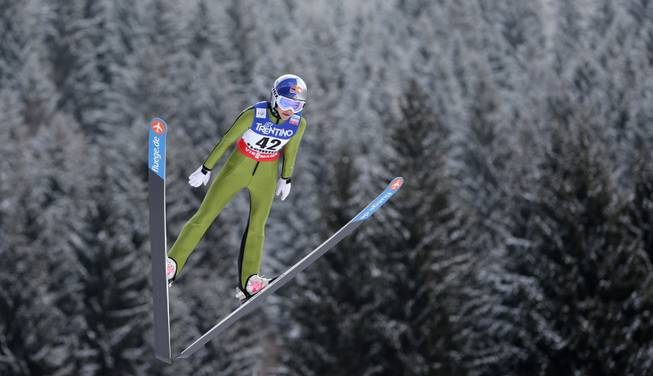 Sarah Hendrickson of the United States  soars through the air during the women's ski jumping HS 106 Individual at the Nordic Ski World Championships in Val di Fiemme, Italy, Friday, Feb. 22, 2013.