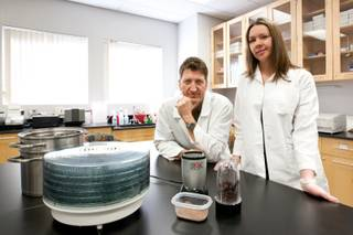 Dr. Daniel Benyshek and graduate student Sharon Young are shown working on their research study of placentophagy in the Metabolism, Anthropometry and Nutrition lab at UNLV in Las Vegas February 22, 2013.